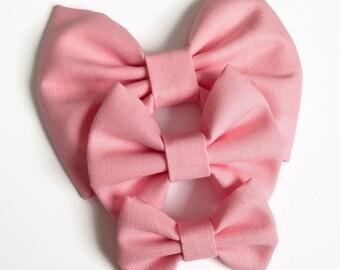 Primrose Fabric Hair Bow - Kona Fabric Bow - Pink Fabric Bow - Fabric Hair Bow - Spring Fabric Bow - Girls Hair Bow - Kona Cotton Hair Bow