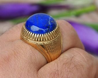 antique handmade Silver Ring  gold-plated statement ring from Afghanistan No-436
