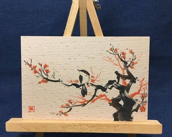 Painting on wood, postcard size, nature spring red plum sparrow bird