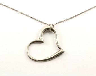 Vintage Heart Shaped Pendant Necklace 925 Sterling Silver NC 305-E