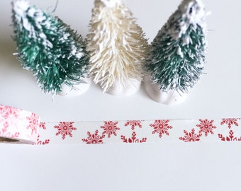 RED SNOWFLAKES Washi Tape White Snowflake snow Christmas Skinny Roll Thin Craft planner crafts planners