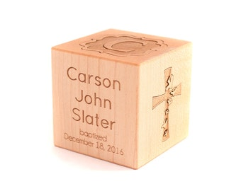 personalized BAPTISM BLOCK - a solid hardwood heirloom christening gift, keepsake wood baby block, extra large with six sides engraved