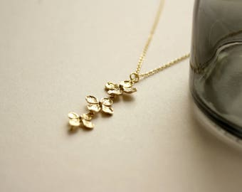Gold-plated necklace chain A44 flowers-