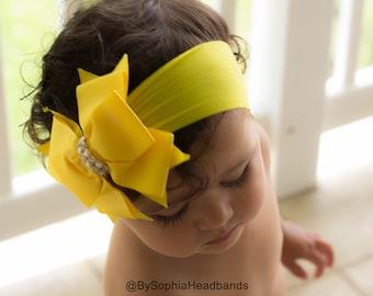 Baby Headband Headwrap, Yellow Baby Headband, Yellow Bow Headband, Baby Bow Headband, Big Bow Headband, Flower Girl Headband, Big Bow, 906