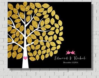 Gold Wedding Guest book Alternative Guest Book Sign, Wedding Gift Wedding Signs, Wedding Tree Faux Gold Guest Book Wedding Guestbook Ideas