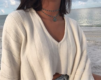 Rustic-Gunmetal Blue Beaded Rosary Chain Indian Coin Double Wrap Choker Necklace. New: White or Black Bead, Copper or Bronze Finishes