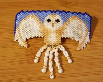 Barn Owl Beaded Barrette