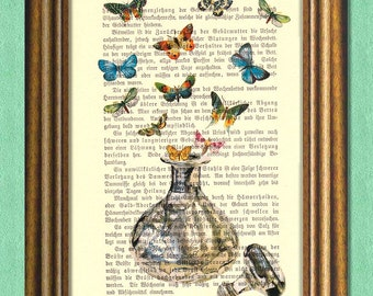 COLORS OF FRAGRANCE - Perfume Bottle & Butterflies - Dictionary art print - vintage page print recycled -  Antique Book Page upcycled