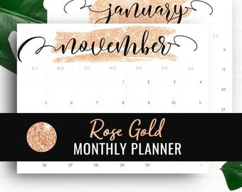 2018 Monthly Planner Printable Calendar • 2017-2018 Printable Monthly Calendar Letter Size Rose Gold • 2017 2018 Printable Desk Calendar PDF