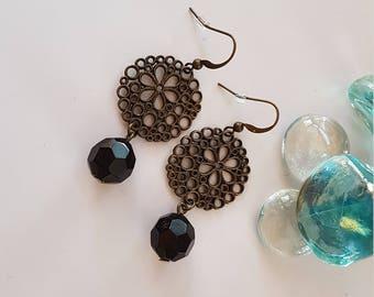 Antique Brass Easy Wear Black Bead Dangle Earrings