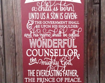 Isaiah 9 For Unto Us A Child Is Born Christmas Scripture Art Christmas Decor Sign Christian Decor Holiday Decoration Real Christmas Wall Art