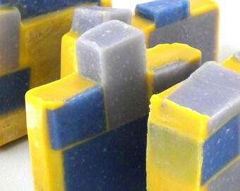 Spearmint Citrus-Patchouli Color Block Soap- Handmade Cold Process Soap Batch #213