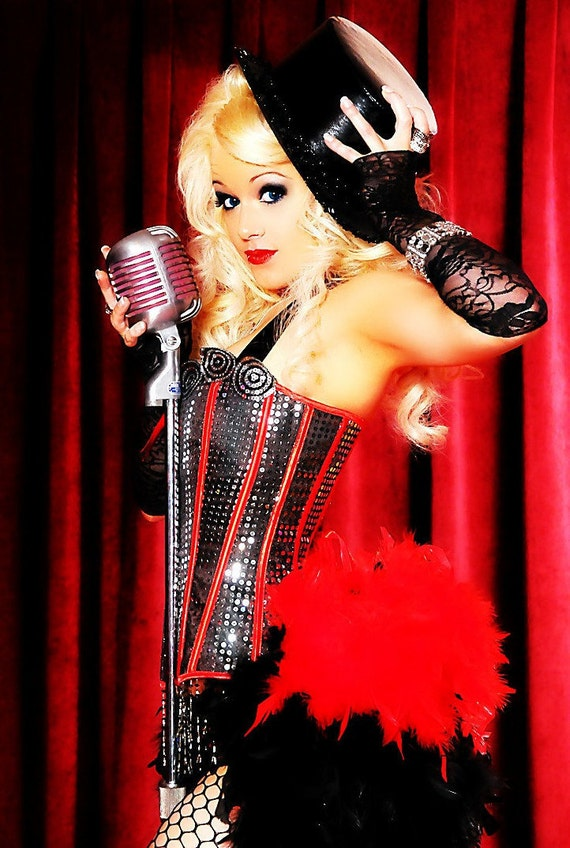 DIVA Red Black Ringmaster Costume Corset Saloon Can Can Circus feather dress