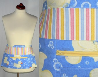 Rubber Ducky Half Apron, New Mommy Pocket Apron, great for teachers, daycare workers, crafters, soap makers, groomers, ready to ship today