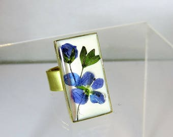Veronica Flower Adjustable Ring, Rectangular , Pressed Flowers, Real Flowers, Silver Plated Brass,  Resin (2063)