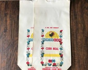Vintage Morning Glory Corn Meal Bags - Monroe NC - Set of 2