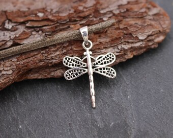 Dragonfly Pendant, Sterling Silver, Dragonfly Necklace, Necklace Component, Nature Pendant, Lake Pendant, Dragonfly Charm, 925, Insect Charm