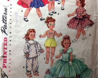 "Vintage Sewing Pattern 16-1/2"" Doll Clothes Pattern  Wardrobe 1950's Dress Hood Cape Gown Pajamas Shorts Petticoat Toni Walker Doll"