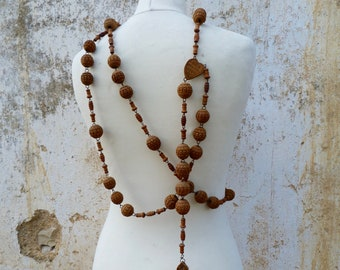 Vintage Antique  French 1900/1930s carved wood huge rosary coming from Mont St Michel / monk