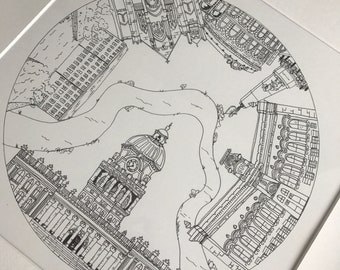 Original Leeds city pen drawing