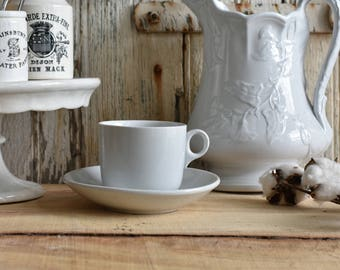 White Ironstone Cup and Saucer by Powell & Bishop ~ Two Piece Set ~ Antique English Ironstone ~ 1867-1878 ~ Handled Coffee Cup ~ Coffee Mug