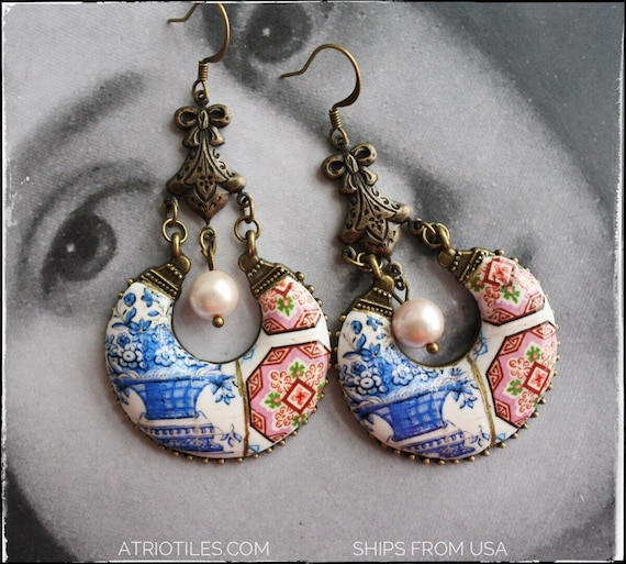 Earrings Portugal Tile Chandelier Portuguese Azulejo Pink Antique Óbidos Floral Vase Esmoriz Gift Box Included -Romantic Ships from USA