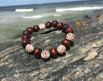 Wooden Bracelet, Dark Wood Bracelet, Bead Bracelet, 10mm Bead, Hawaiian Bead Bracelet, Beachy Bracelet, Tropical Bracelet, Beaded Bracelet