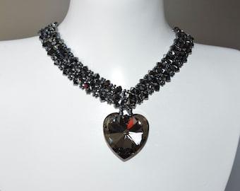 Swarovski crystal hematite 2x-heart 28 mm crystal silver night