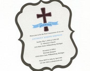 First Communion Invitation - Cross - Brown - Boys - Communion Invitation - First Holy Communion - Personalized