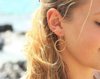Gold Circle Hoop Earrings, 14k Gold Fill, Hammered Jewelry, Circle Jewelry, Date Night