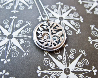 Sterling Silver Stamped Family Tree Of Life Charm Necklace Locket - Custom Stamp Pendant for Mom and Grandma - Blessed
