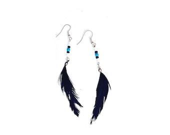 Tribal black feather earrings