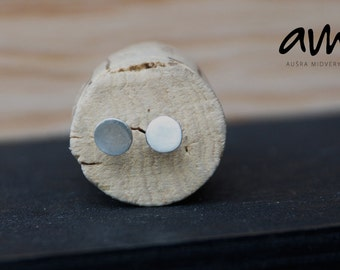 Hammered and scratched silver nail stud earrings