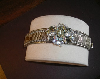 50's 60's Hobe' silver mesh bracelet with chunky rhinestone collection adorning the center, rhinestones line edge of braclet, Gorgeous!