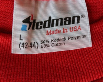 Rare Vintage Early 80's Dead Stock Red T-Shirt | Thin & Soft | Made in USA | Stedman | Size Large Medium | 50/50 Poly Cotton