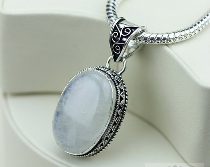 Moonstone Vintage Filigree Setting 925 S0LID Sterling Silver Pendant + 4mm Snake Chain & FREE Shipping p3379