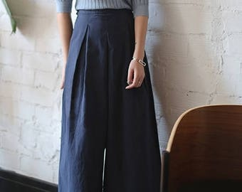 Imcho culottes- cotton twill oversize wide-legged culottes