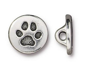 3 TierraCast Tiny Cat Paw 7/16 inch ( 12 mm ) Silver Plated Pewter Buttons