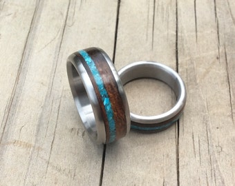 Titanium Rings, Wedding Rings, Wood Rings, Ironwood Ring, Turquoise Ring, Wedding Ring Set, His and Hers Rings, Wood Wedding Rings, Handmade