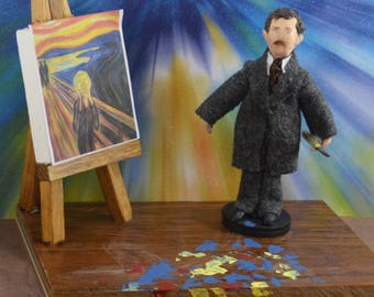 The Scream Artist Edvard Munch Doll Miniature Diorama Scene