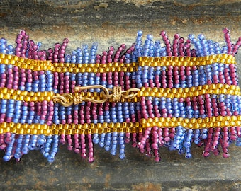 SALE  Beaded Beadwork Peyote Stitch Bracelet Lavender, Burgundy, and Bright Yellow  Size 11 Seed Beads Brass Hook Clasp