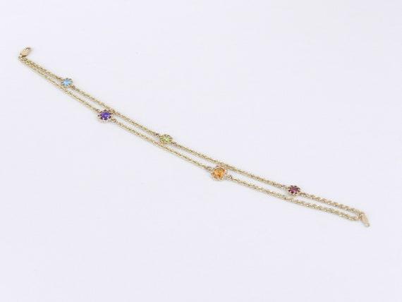 "14K Yellow Gold Double Strand Multi Color Gemstone Flower Tennis Bracelet 8"" Citrine Amethyst Peridot Topaz"