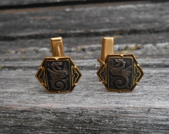 Vintage Damascene Dragon Cufflinks. Gift For Groom, Groomsmen, Dad, Wedding, Anniversary, Birthday, Christmas, Father's Day.
