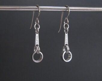 Industrial Earrings, Industrial Metal Jewelry, Stainless Steel Jewelry, Metal Dangle Earrings, Stainless Steel Earrings, Edgy Jewelry