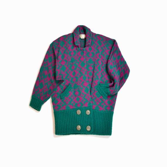 Vintage 80s Batwing Sweater Coat / 80s Sweater Jacket / 80s Geometric Print Coat - One Size