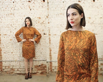 Vintage 1960s 70s xs small psychedelic tropical patterned mini dress / flared bell sleeve