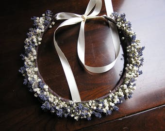 Baby's Breath and Lavender Bridal Hair Crown, Boho Bridal Flower Crown, Wedding Head Piece, Dried Bridal Headpiece, Floral Halo Circlet