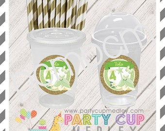 Frog Princess Birthday Favor Cups with Dome Lids or Party Cups, Lids & Straws