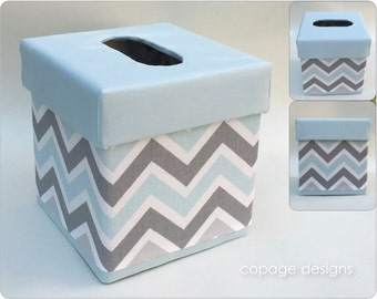 Mist and Gray Chevron TISSUE BOX COVER - Kleenex Box Cover - Baby Nursery Decor - Custom Tissue Box Cover - Made-to-Order