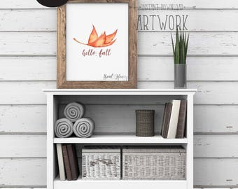 Hello, Fall | Falling Leaf | Seasonal Fall Art | Thanksgiving Print | Watercolor | Printable Quote | Downloadable Prints
